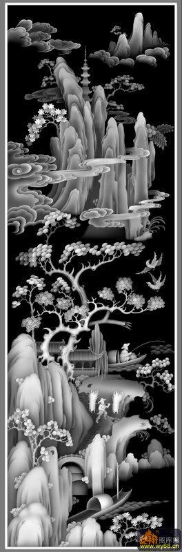 树船-欧式洋花浮雕灰度图