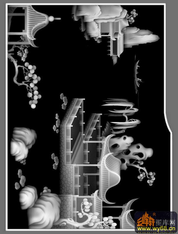 山水 树 凉亭 船-木雕灰度图