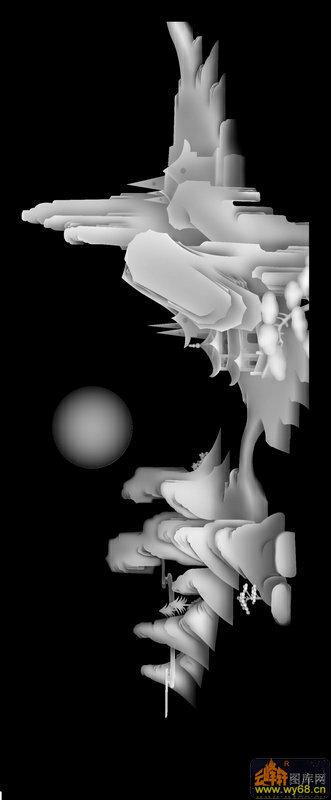 山水 房屋 树 人物-木雕灰度