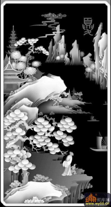 山水 松树 房屋 夏-浮雕图案