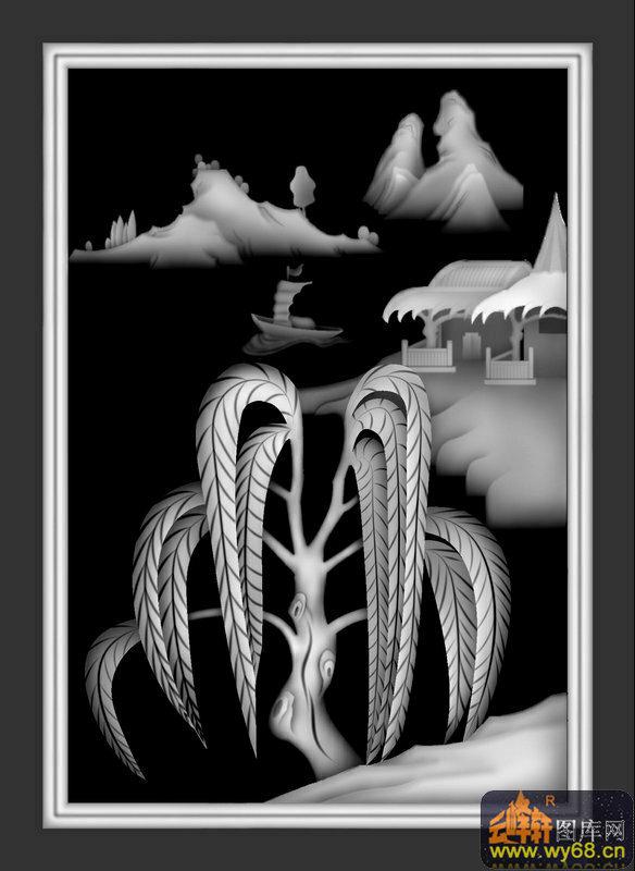 山水 树 房屋 船-灰度浮雕