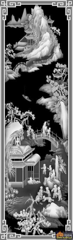 山水 房屋 桥 人物-木雕灰度图