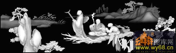 山水 树 人物-灰度图库素材-灰度图,bmp图,浮雕图,轩