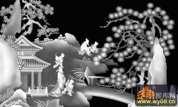 山水 梅花 房屋 人物-浮雕灰度图