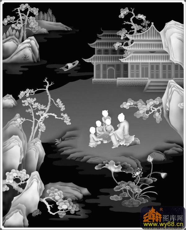 山水 房屋 树 人物-木雕灰度图