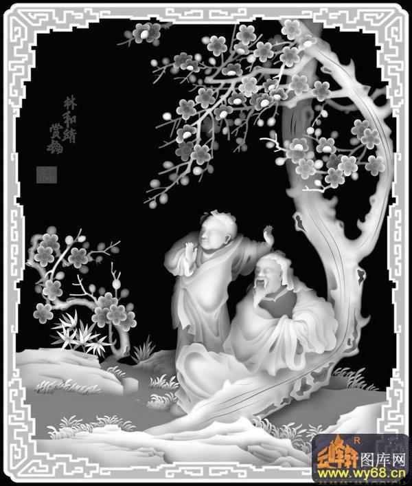 人物 梅花-灰度图库素材