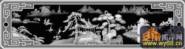 山水 树 凉亭 鸟-木雕灰度图