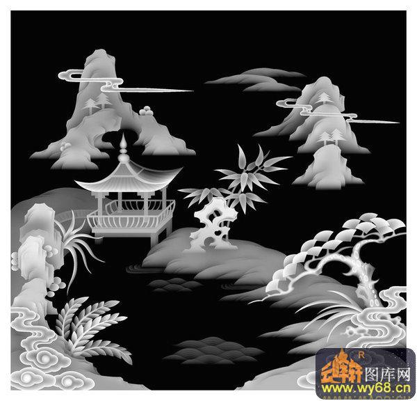山水 凉亭 树-木雕灰度图