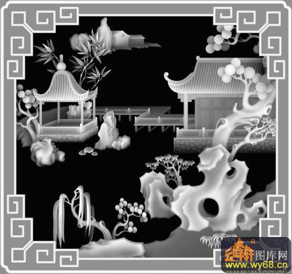 山水 房屋 树-灰度浮雕