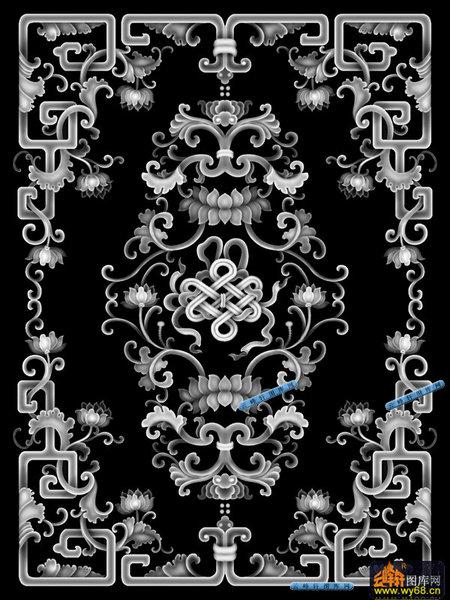 各类花纹花边-吉祥结-076-各类花纹花边精雕灰度图