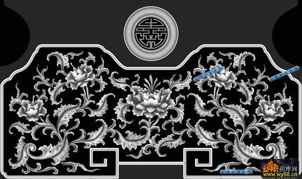 03-古典花藤-095-花纹花边精雕灰度图
