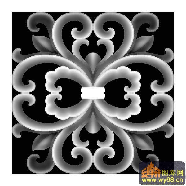 西洋花 天花板-精雕灰度图