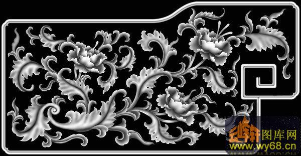 洋花龙 西洋花 龙-木雕灰度图