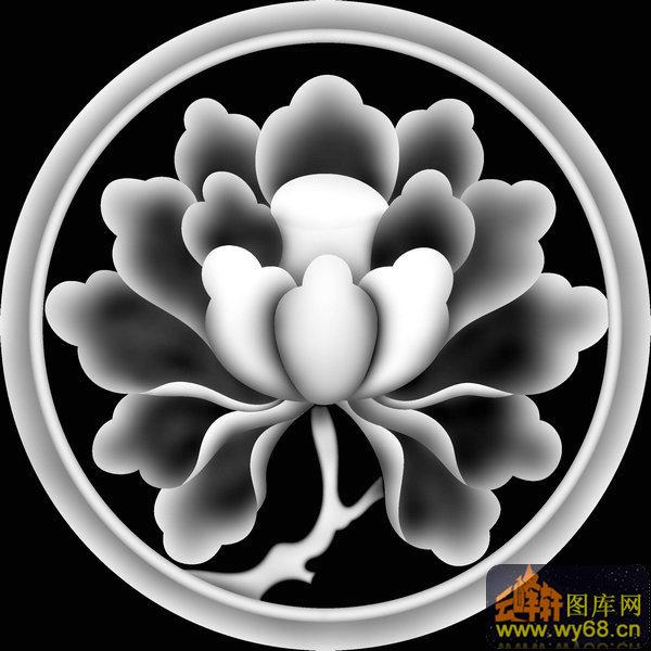 牡丹花 圆 椅背-电脑雕刻图