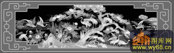 松树 仙鹤 祥云-玉石灰度图