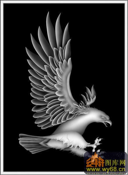 鹰-浮雕图案-灰度图,bmp图,浮雕图,云峰轩雕刻图库网
