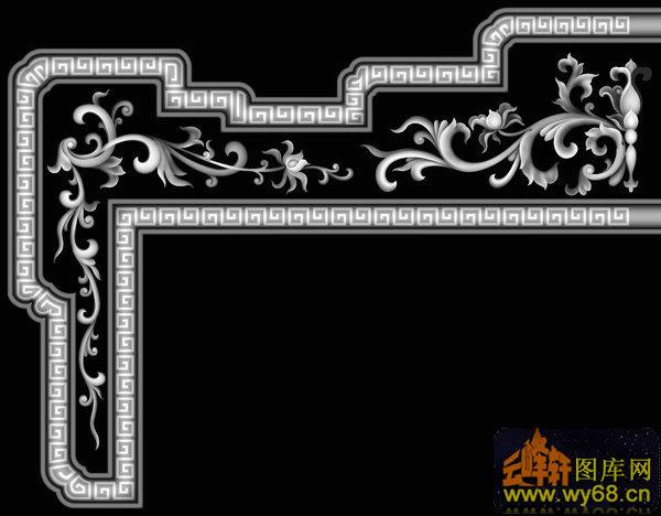 花纹 回纹边-欧式洋花浮雕灰度图