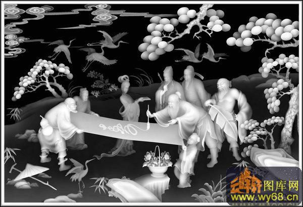 人物 八仙 祥云 仙鹤 树-欧式洋花浮雕灰度图