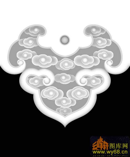 祥云 花纹 羊头 扶手-木雕灰度图 - 云峰轩雕刻图库网