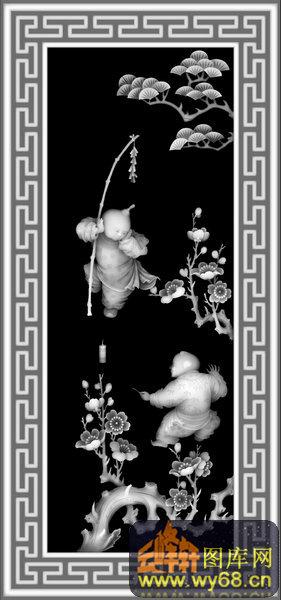 人物 童子 花 松树 鞭炮 长城纹-玉石灰度图