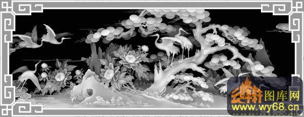 松树 花 仙鹤-欧式洋花浮雕灰度图