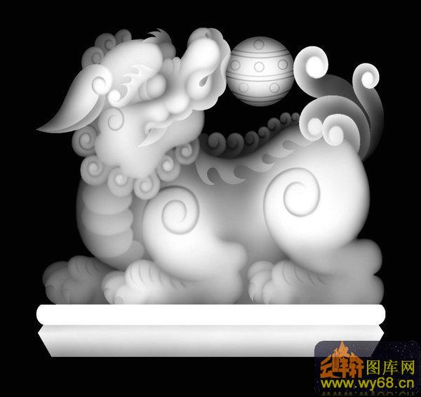 狮子像-欧式洋花浮雕灰度图