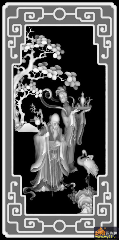 寿星 仙鹤 树-雕刻灰度图