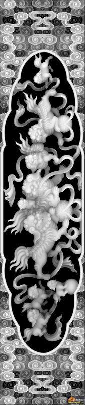 狮子 花纹 云-电脑雕刻图