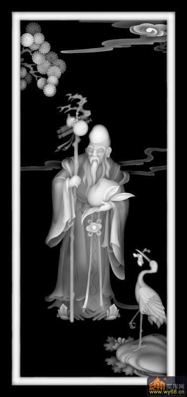 松树 寿星 桃子 仙鹤-玉石灰度图