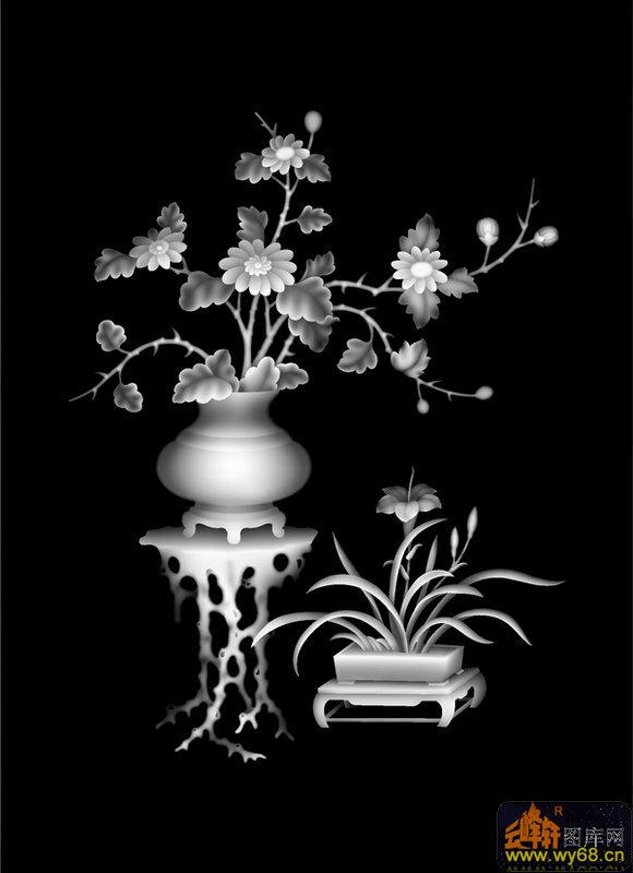 花瓶 兰花-雕刻灰度图