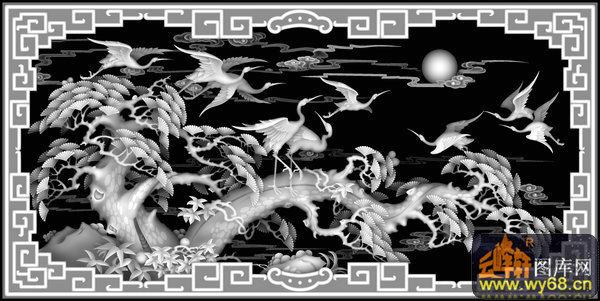 松树 仙鹤 云-木雕灰度图