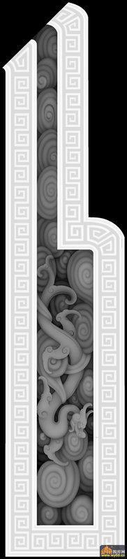 龙 花纹 回纹边-浮雕图案