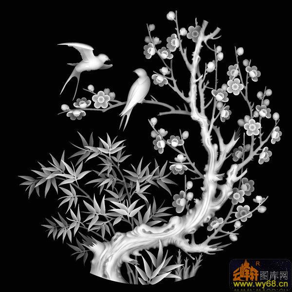 梅花 竹子 鸟-灰度图库素材