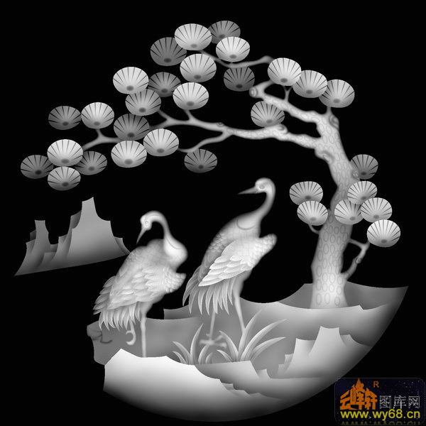 松树 仙鹤-浮雕灰度图