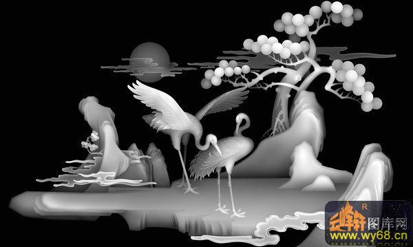 松树 仙鹤-欧式洋花浮雕灰度图