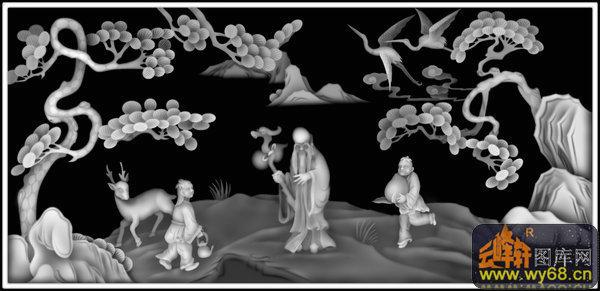 松树 仙鹤 寿星 童子