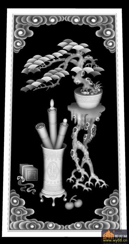 欧式花盆灰度图
