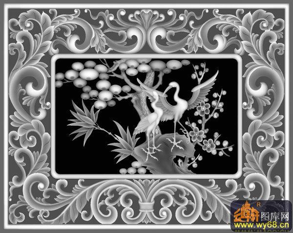 仙鹤 松树 梅花 花纹边框-灰度图 - 云峰轩雕刻图库网
