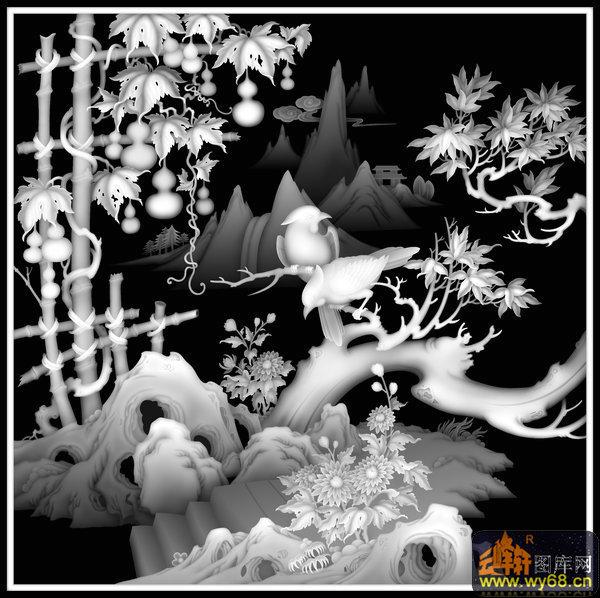 人物头像 宋庆龄 菊花 文字-欧式洋花浮雕灰度图