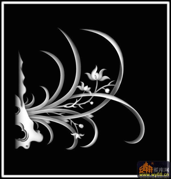 兰花-木雕灰度图