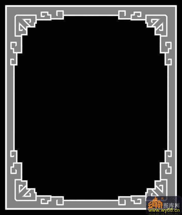 边框-木雕灰度图