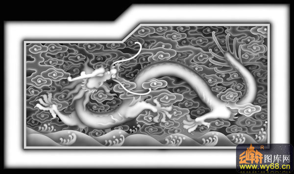龙云 花纹-灰度雕刻图