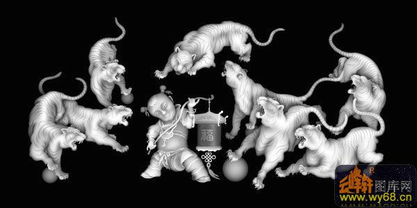 老虎 童子-浮雕图案-灰度图,bmp图,浮雕图,云峰轩雕刻