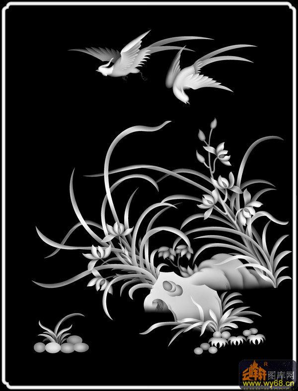 兰花 鸟-灰度图电脑雕刻图