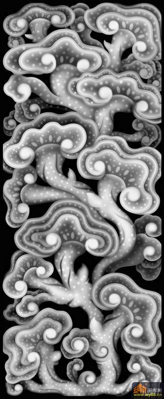 灵芝 花纹 云纹-灰度雕刻图