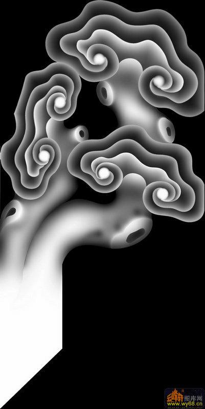 灵芝 云纹-木雕灰度图