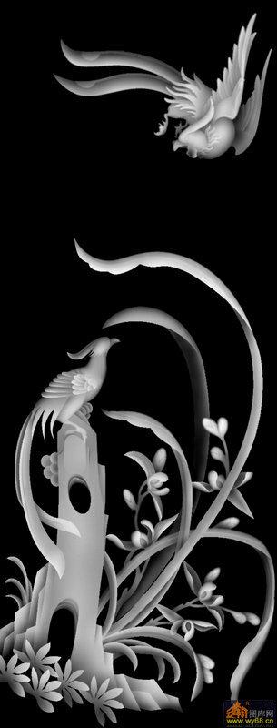 花纹框-欧式洋花浮雕灰度图