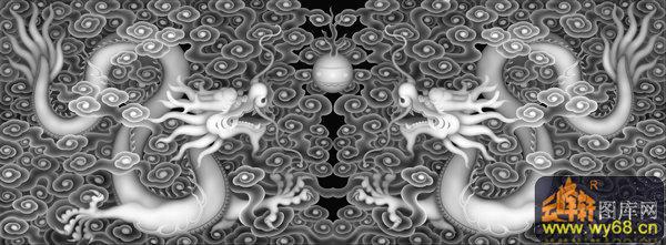 双龙戏珠 云-灰度雕刻图