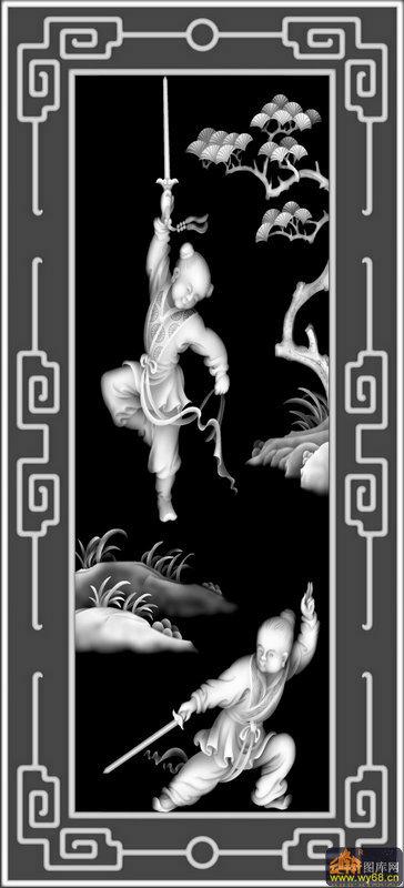 童子 练剑 松树-木雕灰度图