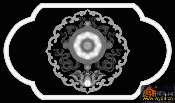 莲花 花纹-雕刻灰度图